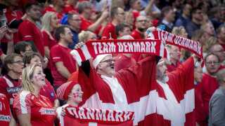 Danish fans during the men's IHF Handball World Championship match in Group C between Denmark-Chile in Copenhagen , Denmark, on Thursday, Jan. 10, 2019.. (Foto: Liselotte Sabroe/Ritzau Scanpix)