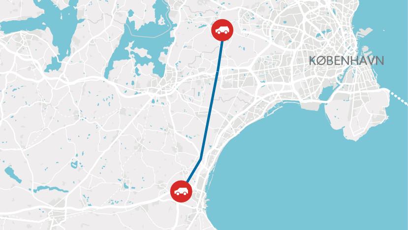 Motorvejen skal gå fra Køge i syd til Frederikssundmotorvejen i nord.