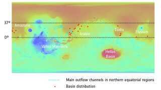 Her ses de 24 kratere plottet ind på et topografisk kort over Mars overflade. De røde prikker er kratere. Farverne repræsenterer højdeniveau. Rød og orange er lavere højde, mens blå og grøn er højere.