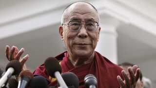 Dalai Lama på et pressemøde kort efter sit møde med Barack Obama.