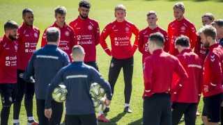 Det danske herrelandshold i fodbold forbereder sig til Schweiz-kampen på tirsdag.
