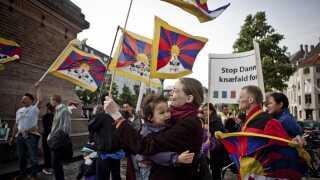 ARKIVFOTO. Støttekomiteen for Tibet har flere gange demonstreret - her i forbindelse med den kinesiske præsident Hu Jintaos statsbesøg i Danmark.