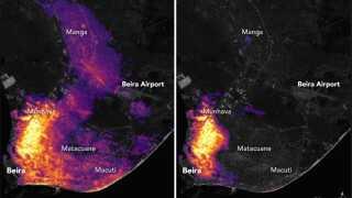 Et tydeligt billede på cyklonen Idais ødelæggelser. Til venstre ses lysforureningen fra området omkring landets fjerde største by Beira, inden Idai ramte. Til højre fire dage efter cyklonen var gået i land.