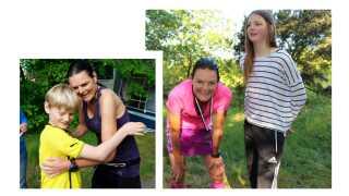Børnene Viktor og Emilie har altid støttet deres mor til de forskellige maratonløb. I dag er børnene teenagere.