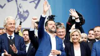 Hollandske Geert Wilders, Matteo Salvini og franske Marine Le Pen (th.) var samlet i Milano i sidste weekend.