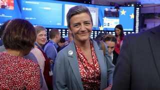 Margrethe Vestagers (R) liberale ALDE-gruppe står til fremgang efter europaparlamentsvalget.