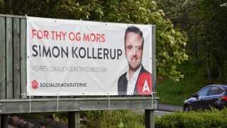 Simon Kollerup giver på sin valgplakat en opfordring til at stemme lokalt.