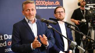 Anders Samuelsen og Simon Emil Ammitzbøll-Bille ved valgfesten hos Liberal Alliance på Christiansborg.