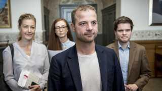 Samira Nawa, Sofie Carsten Nielsen, Andreas Steenberg og Morten Østergaard ankommer til regeringsforhandlinger på Christiansborg, tirsdag den 11. juni 2019.