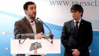 """Her lancerer Antoni Comín og Carles Puigdemont deres kandidatur til Europa-Parlamentet. De står i spidsen for partiet """"Junts per Catalunya"""" - """"Sammen om Catalonien"""" - og de førte deres valgkamp fra Bruxelles i Belgien."""