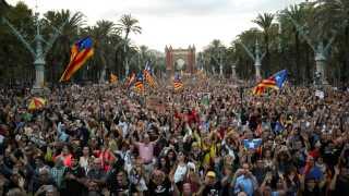 Cataloniens forhold til resten af Spanien vækker fortsat store følelser i Spanien. Billedet her er fra 1. oktober 2018, der var årsdagen for den omstridte afstemning.