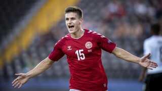 Joakim Mæhle spillede igen en rigtig god kamp for Danmark og var en af U21-holdets bedste igen i dag.