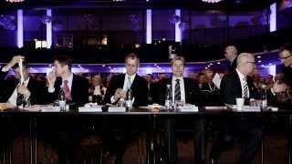 Per Damborg Skovhus, Georg Schubiger, Henrik Ramlau-Hansen, Thomas F. Borgen og Tonny Thierry Andersen (set fra venstre) alle for Danske Banks direktion under bankens generalforsamling i Tivoli Congress Center i København tirsdag d. 29 marts 2011.