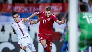 Jacob Bruun Larsen scorede Danmarks første mål og spillede med stor aggressivitet.