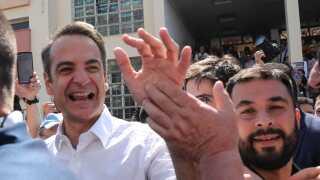 Kyriakos Mitsotakis, Nyt Demokratis leder af det konservative parti, har i formiddag stemt til landets parlamentsvalg.