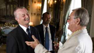 Lars Larsen her med prins Henrik, da han fik Kong Frederik d. 9.s Hæderspris i 2007, der blev givet til fem danske eksportvirksomheder. (Arkiv)