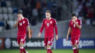 Christian Eriksen (midten) dumper i fodboldkommentator Andreas Krauls vurdering af den danske indsats i 0-0-kampen i Tbilisi.