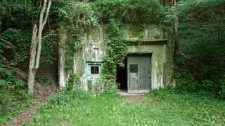 Indgangen til bunkeren ligger skjult mellem de bølgende bakker og træerne i Rold Skov.