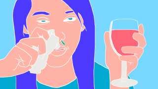Et stof, som findes i rødvin, kan muligvis forstærke antibiotikas virkning. Men forskerne ved stadig for lidt om det. Tegning: Ingeborg Munk Toft