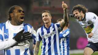Peter Utaka, Emil Lyng og Peter Graulund er alle på listen over de fem hurtigste mål i Superligaens historie. Foto: Scanpix