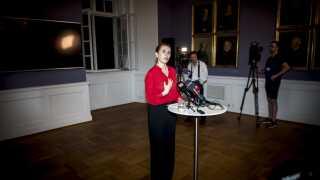 Mette Frederiksen fra Socialdemokratiet efter de afsluttede regeringsforhandlinger i Landstingssalen på Christiansborg, tirsdag 25. juni 2019.. (Foto: Mads Claus Rasmussen/Ritzau Scanpix)