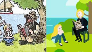 På den nye version af tegningen har Kay Xander Mellish tilføjet sig selv, der læser højt for sin datter.  - Hvis folk bruger min tegning uden af kreditere mig, så deler de automatisk også et billede af mig, der læser højt af min egen bog. På den måde giver de mig lidt reklame alligevel, forklarer Kay Xander Mellish.