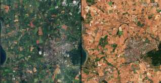 I 2018 var Danmark plaget af den værste tørke i 10 år. Og det kan vi måske godt begynde at vænne os til. For godt nok kan en enkelt vejrhændelse ikke kobles sammen med klimaforandringerne, men i fremtiden kan vi forvente flere lange perioder med ekstremt vejr. Både i form og tørke og voldsom regn. Til venstre ses et billede fra Europa i sommeren 2017. Til højre sommeren 2018.