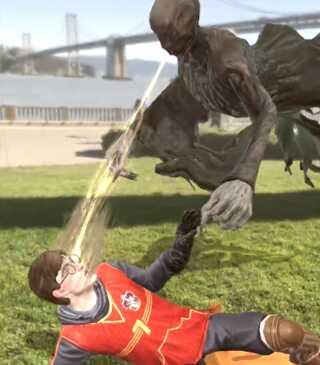 Det er ikke kun små, søde væsner, du skal indsamle i 'Harry Potter: Wizard Unite'. Af og til vil du støde på velkendte ansigter fra Harry Potter-universet som eksempelvis Harry Potter selv, der her er ved at tabe en kamp mod en led dementor.