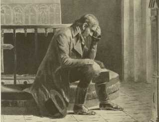 Grundtvig som ung i Udby Kirke, ca. 1810.