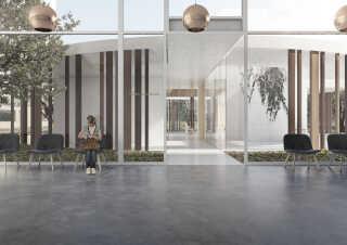 Kirken kommer til at ligge i forbindelse med det nye sygehus i Gødstrup.