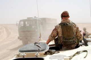 Dansk patrulje i i Helmand-provinsen, nær den britiske Camp Bastion og den danske lejr heri, Danelagen Lines.