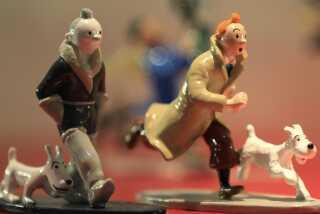 Tintin-merchandise er stadig populært. Her ses nogle figurer fra museumsbutikken i Hergé Museum i den belgiske by Louvain-La-Neuve.