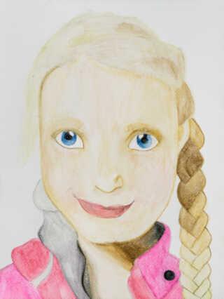 3. prisen gik til Cecilie Elisabeth Langseth fra 6. klasse på Kratbjergskolen afd. Ravnsholt i Lillerød, som ligeledes havde portrætteret sin søster.