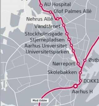 I første omgang åbner den 12 kilometer lange strækning mellem Aarhus H og Universitetshospitalet i Skejby (AU Hospital) via den nye havnefront og Randersvej.
