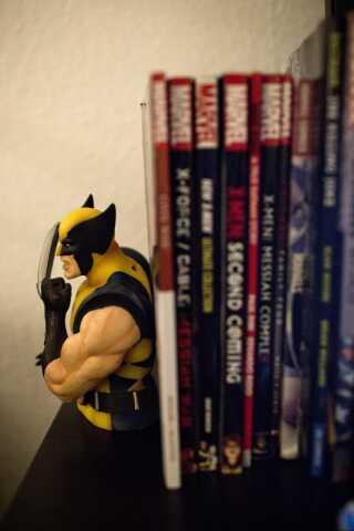 På en af hylderne er en samling af tegneserier og X-Men-figuren Wolverine fra Marvel-universet. Udover tegneserier elsker Martin også computerspil.