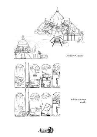 Original skitse fra spillet 'Forgotton Anne', som viser de allerførste tanker spiludviklerne har haft med baggrund, stemning og miljø.