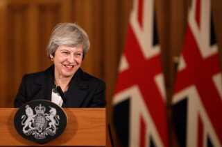 Premierminister Theresa May under et pressemøde i Downing Street 10 onsdag eftermiddag.