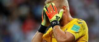 Kasper Schmeichel kort efter skuffelsen mod Kroatien ved VM i sommer.