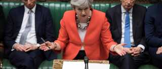 """TOPSHOT - A handout photograph released by the UK Parliament shows Britain's Prime Minister Theresa May speaking at the start of the debate on the second meaningful vote on the government's Brexit deal, in the House of Commons in London on March 12, 2019. - Prime Minister Theresa May's Brexit deal suffered a big blow on March 12, 2019 when her chief attorney ruled that risks from its most contention points remained """"unchanged"""". (Photo by JESSICA TAYLOR / various sources / AFP) / RESTRICTED TO EDITORIAL USE - NO USE FOR ENTERTAINMENT, SATIRICAL, ADVERTISING PURPOSES - MANDATORY CREDIT """" AFP PHOTO /Jessica TAYLOR/ UK Parliament"""""""
