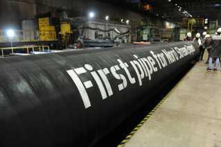 Dele af gasledningen Nord Stream 2, der bliver leveret til den tyske ø Rügen.