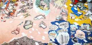 """Værket med navnet """"Lyset forsvinner - bare vi lukker øynene"""" er 12x6 meter og dækker hele væggen i Sundheds- og Landbrugsministeriernes presserum. Værket blev skabt af den norske kunstner Vanessa Baird, og et ud af tre værker, som kunstneren vil levere til de to ministerier."""