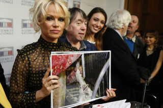 Pamela Andersen da hun gæstede en pressekonference i Assemblé Nationale i 2016 i protest mod tvangsfodring af ænder til foie gras.