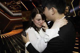 Det var en rørt Mia, der i 2017 måtte sige farvel sin kæreste, da Martin røg ud af X Factor i 2017. Mia selv endte senere på en tredjeplads i finalen.