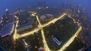 Den spektakulære bane i Singapore hvor grandprixet skal køres i mørke.