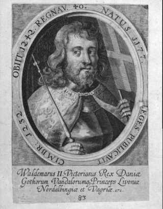 Dette kobberstik fra 1685 viser Valdemar Sejr med Dannebrog i den ene hånd.