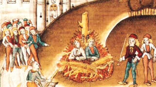 Ridderen Richard Puller von Hohenburg bliver brændt for sodomi, altså homoseksualitet, sammen med sin tjener ved Zürich, 1482. Diebold Schilling, 'Chronik der Burgunderkriege', (Zürich, Zentralbibliothek).