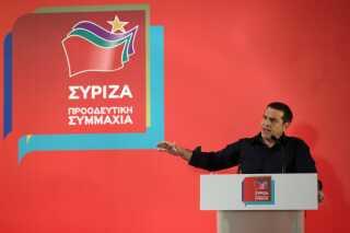 Premierminister Alexis Tsipras holder tale i Athen.