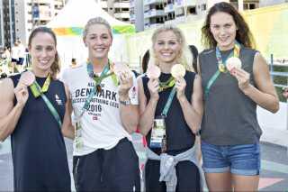 Den danske holdkap med Mie Østergaard Nielsen, Rikke Møller Pedersen, Jeanette Ottesen og Pernille Blume, der vandt OL-bronze i 4 x 100 meter medley ved OL i Rio i 2016.