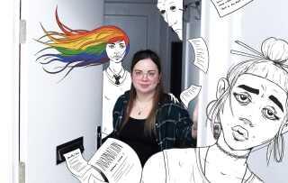 Pernille L. Stenby bor i en lejlighed på Frederiksberg omgivet af fantasybøger og mangabøger. Når hun skriver sine fantasyhistorier, er det med temaer som identitet, køn og seksualitet, der gennemsyrer dem.