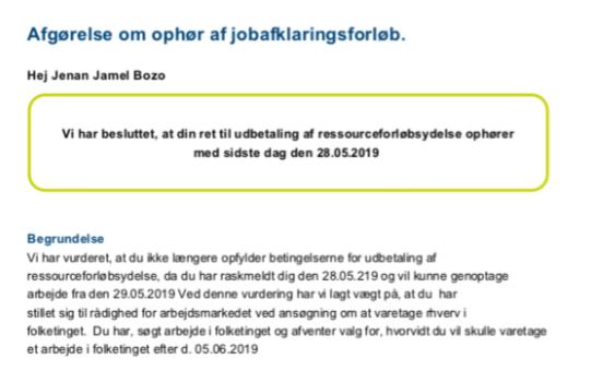 Brev fra Odense Kommune d. 28. maj 2019.